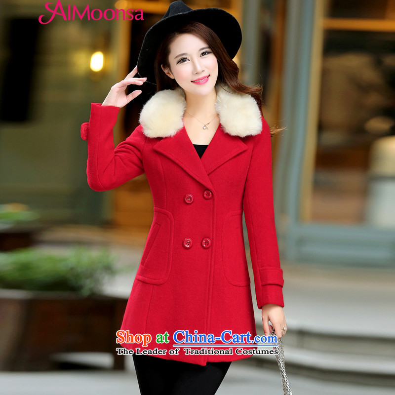 The Korean version of the stylish Sweet aimoonsa double-jacket women's gross? autumn and winter New Gross Gross for coats women would be sub-jacket red S