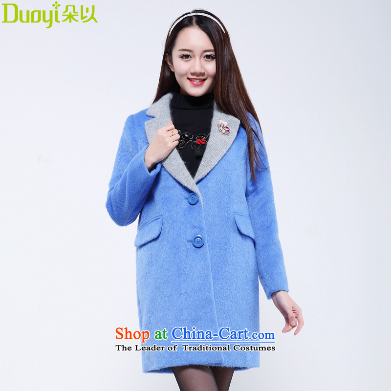 Flower to 2015 winter clothing new Korean lapel color in the collision of gross?? coats 30VD70661 jacket female Indigo聽S