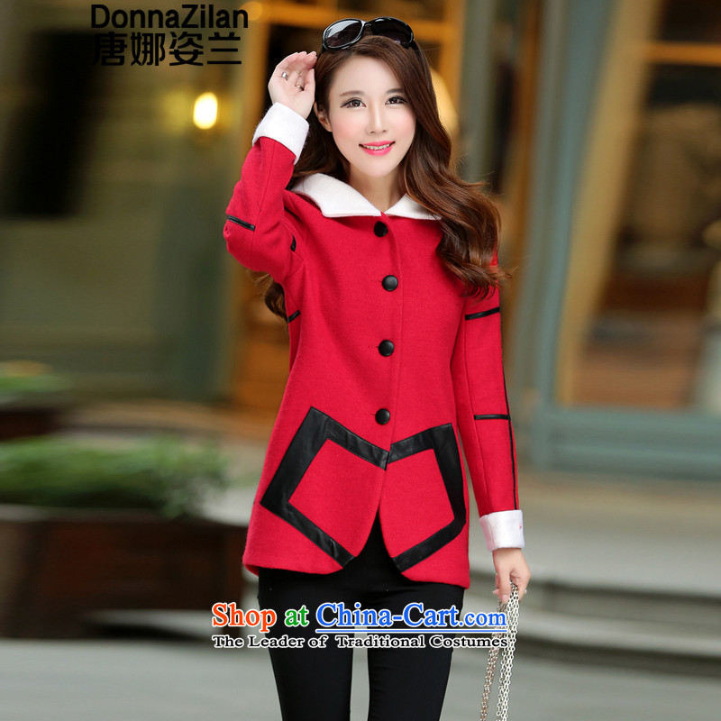 2015 new short of the amount that women's jacket Fall_Winter Collections Korean version thin cap temperament coats, women's gross? boards single row detained a wool coat female red燲XL