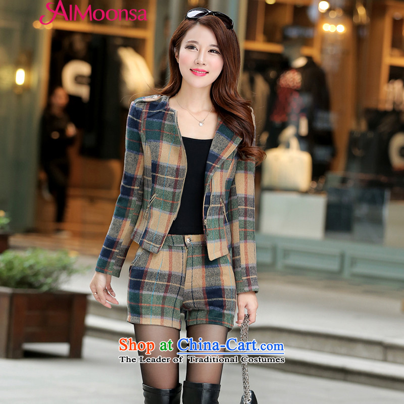 燭he Korean version of the short period of aimoonsa gross? jacket leisure wears the autumn and winter new a wool coat jacket female zipper gross kit green overcoat?燲L
