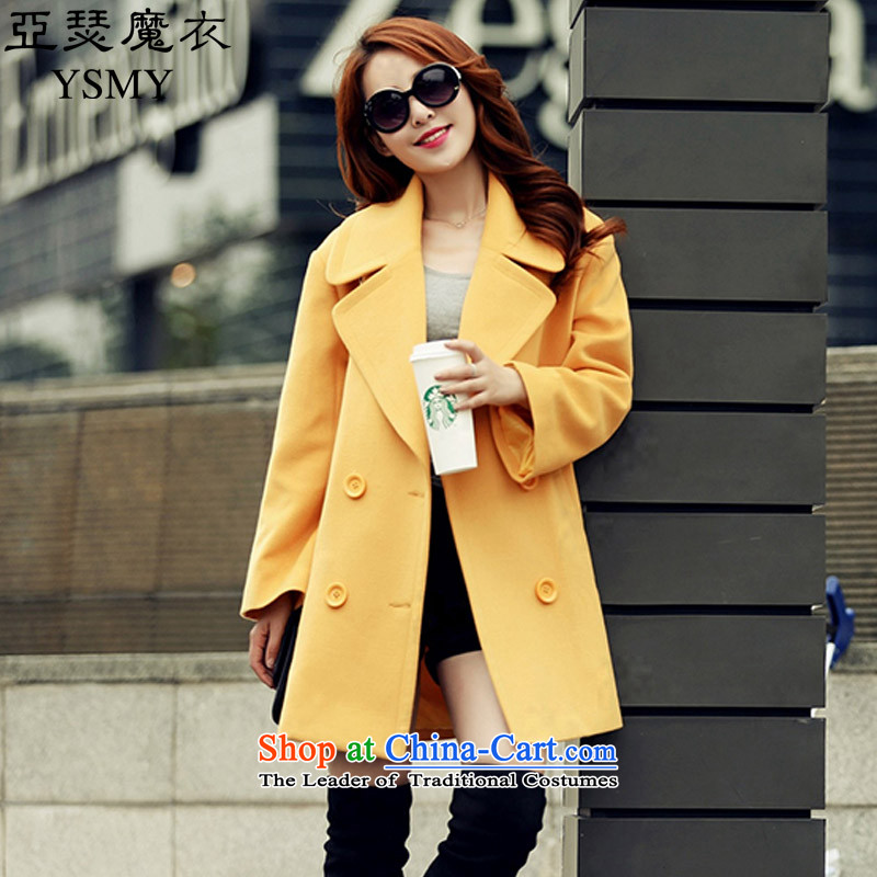 Arthur magic yi聽2015 Fall_Winter Collections new double-reverse collar coats, wool? long suit for Sau San Mao jacket female Yellow聽XL?