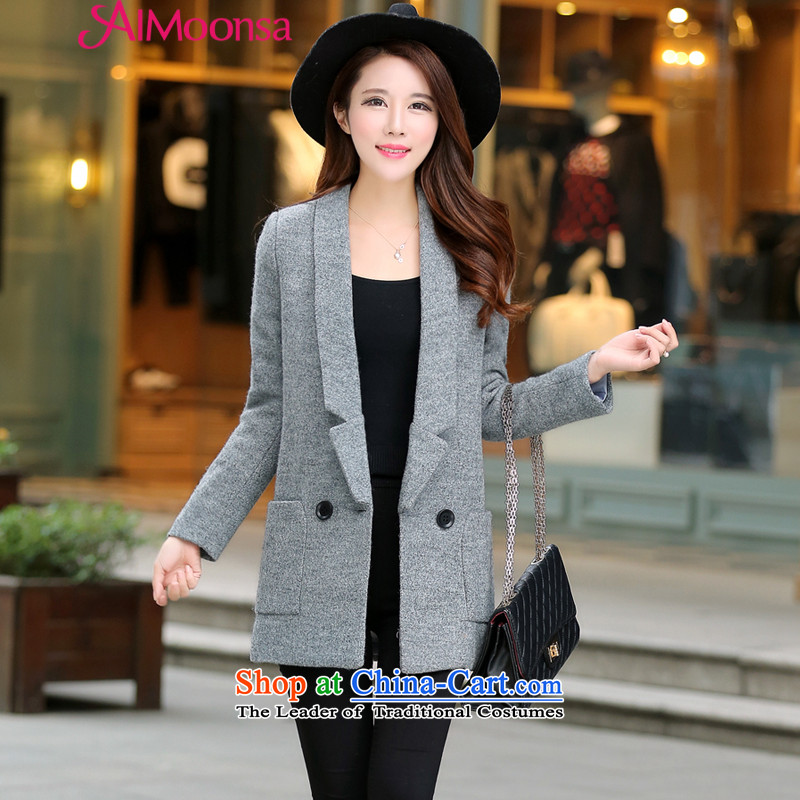 Western Wind fashion, long hair? female gross so Coat jacket new 2015 women Fall/Winter Collections long temperament a wool coat Korea womens gray thick