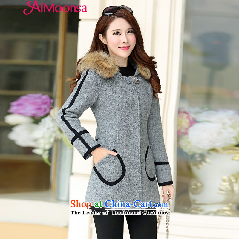 The new cloak? jacket women's gross in long Korean autumn and winter load relaxd stylish a wool coat cap for Gross Gross coats female gray XXL?