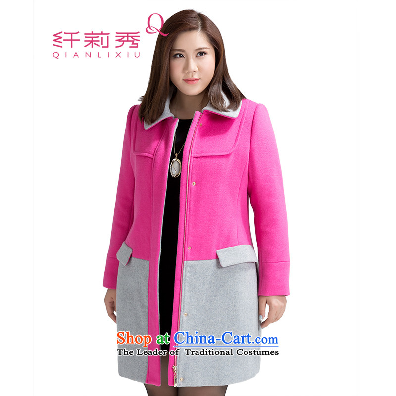 The former Yugoslavia Li Sau 2015 autumn and winter new larger female lapel knocked color stitching straight-long coats of _ 1,178 in the jacket? Red 2XL
