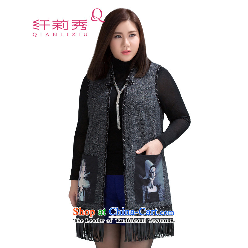 The former Yugoslavia Li Sau 2015 Fall_Winter Collections new larger female streaks stamp pocket-su, a handsome girl 1528 Black�L Jacket