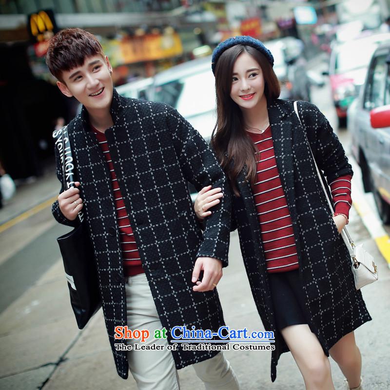 Dan Jie Shi?2015 Autumn on new men in a compartment long coats gross? Qingluzhong Long Hoodie Youth Korean wool a wool coat jacket male Black?XL