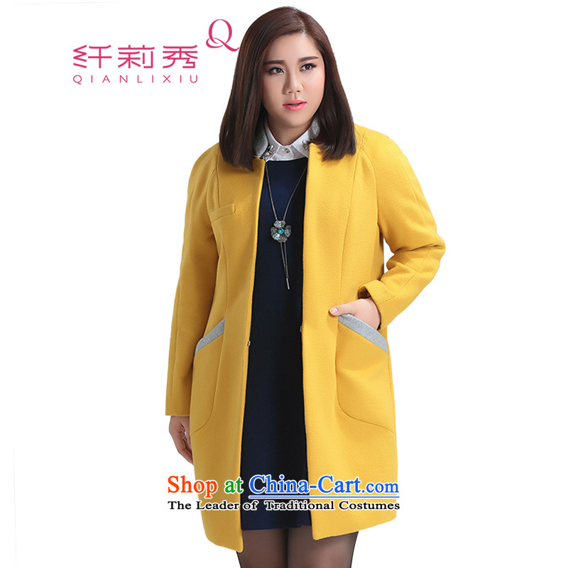 The former Yugoslavia Li Sau 2015 Fall_Winter Collections new larger women's Mock-neck knocked color stitching graphics thin straight hair? coats 1180 mustard yellow燲L
