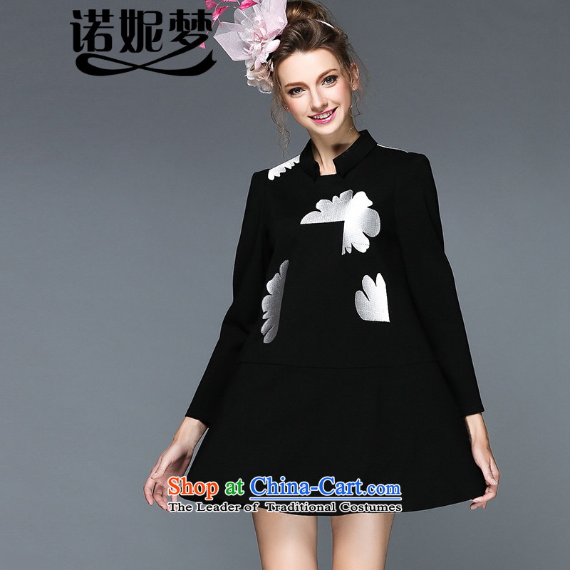 The Ni dream high-end large European and American Women 2015 autumn and winter new expertise to increase energy mm embroidered A skirt G-q109 long-sleeved black聽XXXL