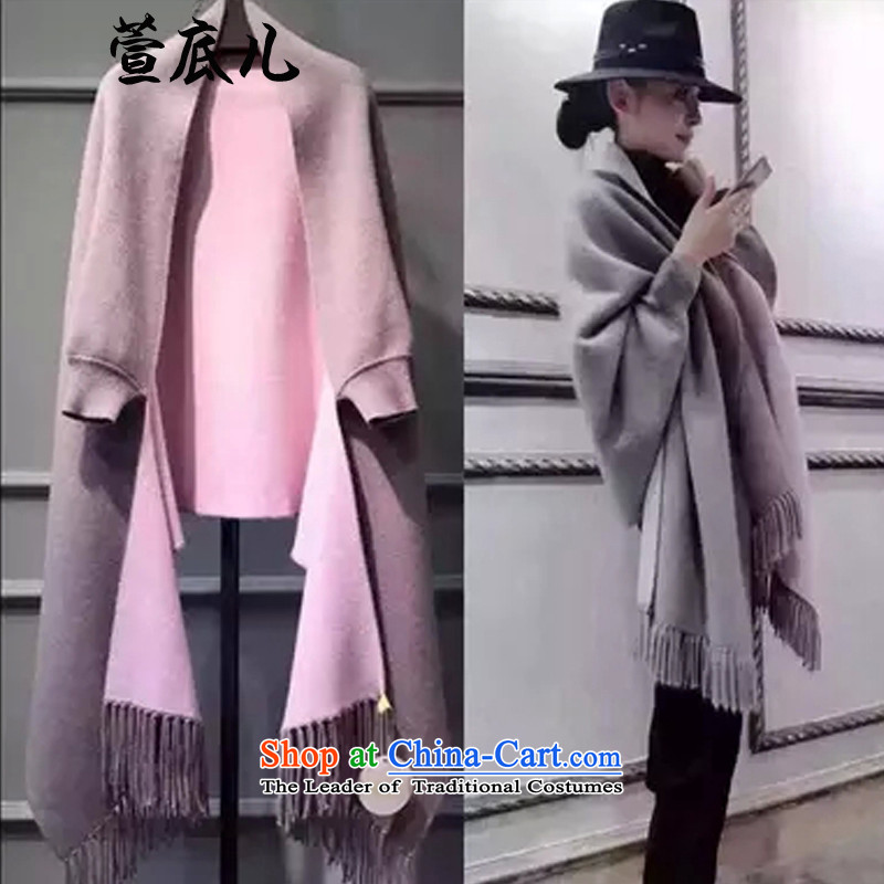 Mavis Fan bottom 2015 autumn and winter female Korean version of the new trendy long temperament cloak shawl coats duplex can penetrate gray + pink are code
