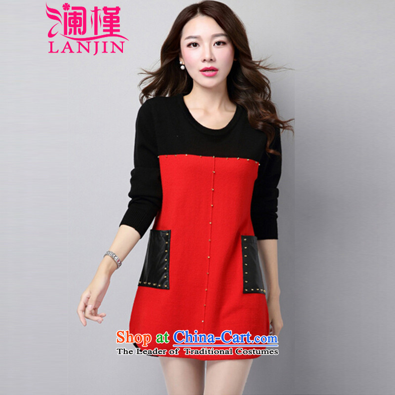 The world's largest code 2015 Autumn and Winter Female to intensify the new mm thick Knitted Shirt, long-sleeved clothes loose video, forming the basis of thin sweater 2146 Red M
