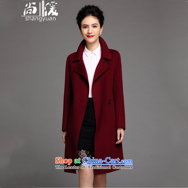 Yet ? pure color manual two-sided? 2015 New in woolen coat long non-cashmere a wool coat jacket female Korean BOURDEAUX燲L