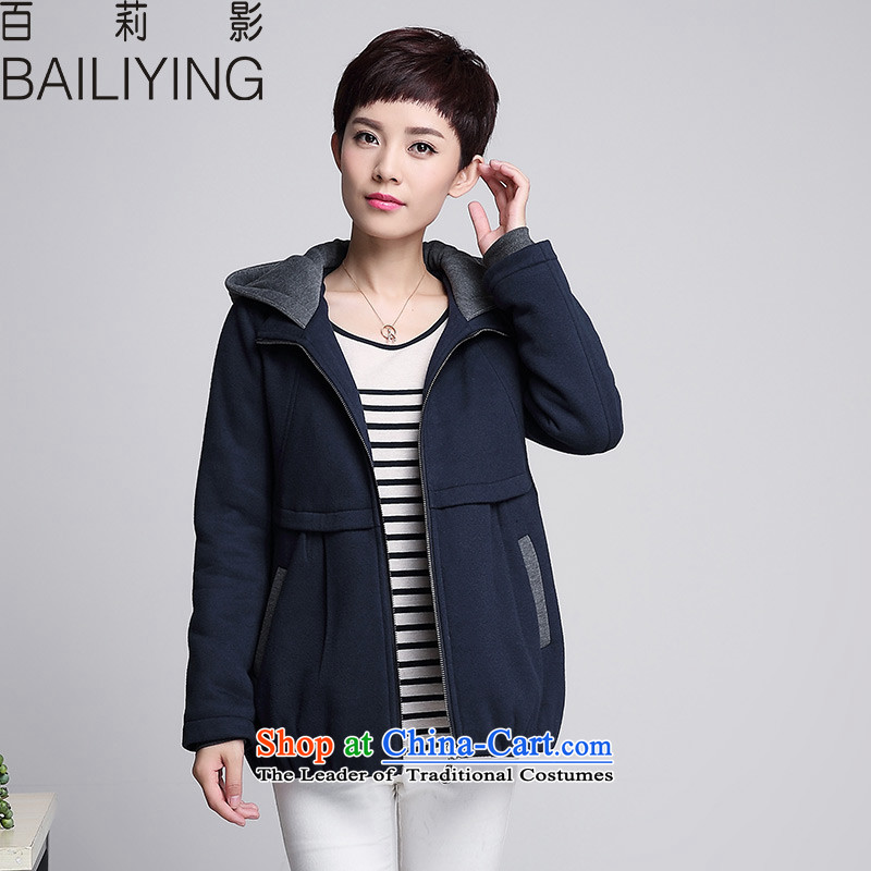 Hundred Li Ying 2015 Fall/Winter Collections of 30-40-year-old middle-aged female replacing mother replacing large MM thick cotton folder thick sweater girl jacket color navy 4XL