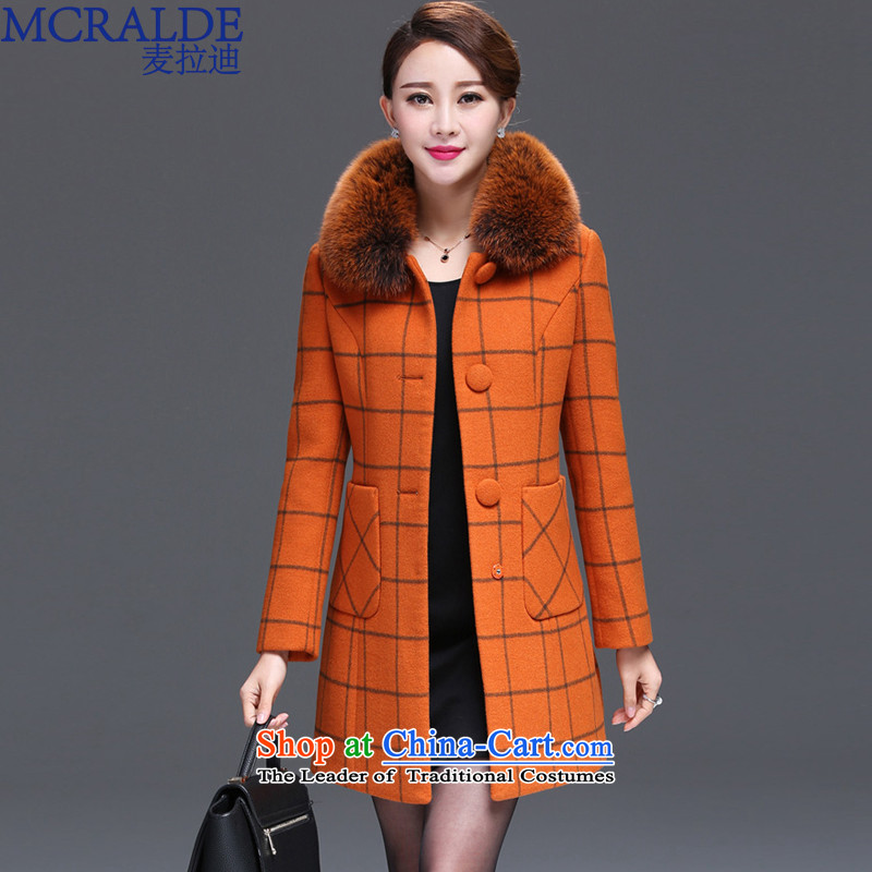 Mr Vladimir 2015 winter clothing new coats girl handing gross? Nagymaros collar jacket in gross so long a wool coat female 8332orange燲L