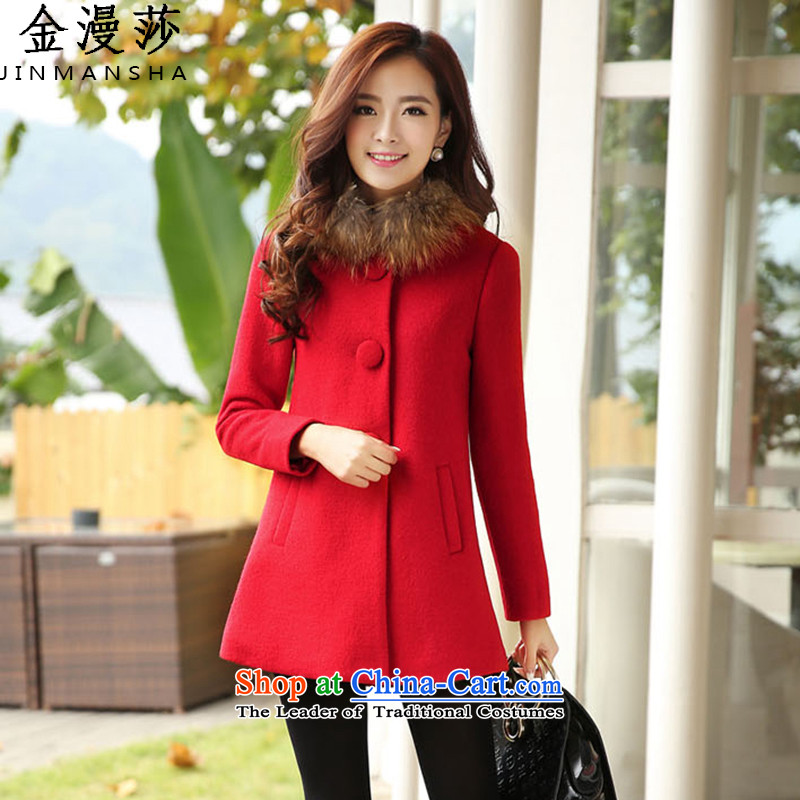 Kim Man sa�15 autumn and winter new Korean girl in gross? jacket long coats gross?_ Gross _with red燣