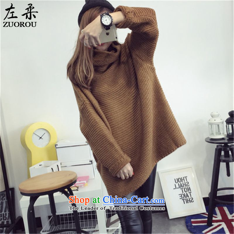 Sophie 2015 autumn and winter left of Korean version of large numbers of ladies thick mm video thin wild relaxd heap heap Neck Knitted Shirt sweater shirt head 200 catties better wearing a khaki Color Code