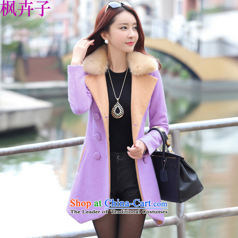 Maple Hui Sub 2015 autumn and winter new products in the women's long Korean gross overcoats F8978? light purple?L