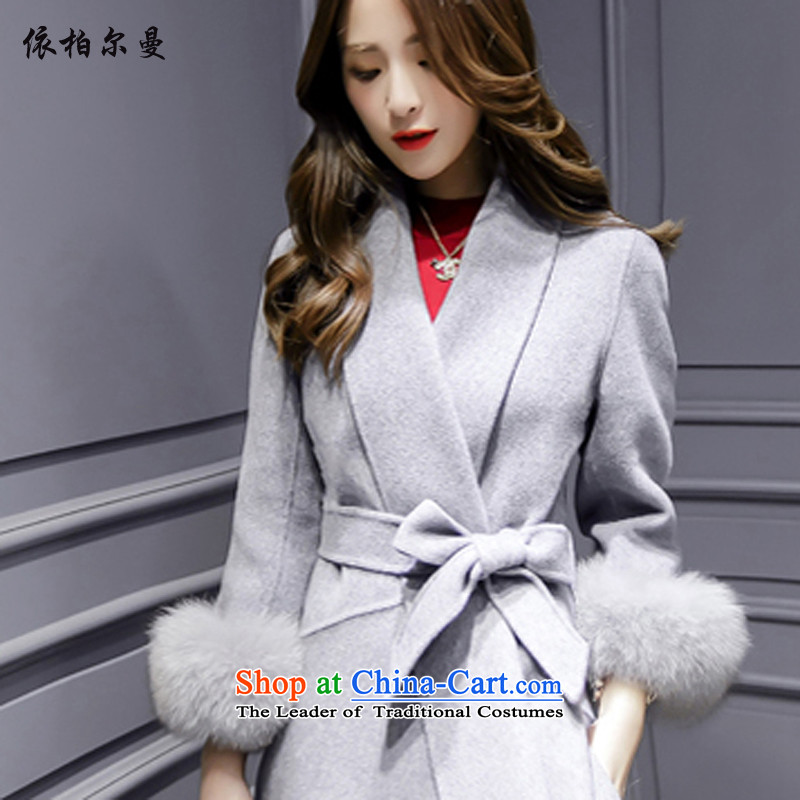 In accordance with the limited time Borman Korean Y2017 gross? coats Light Gray L