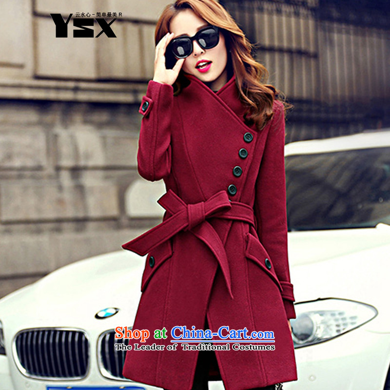 Sau San tether collar a wool coat deep red?M