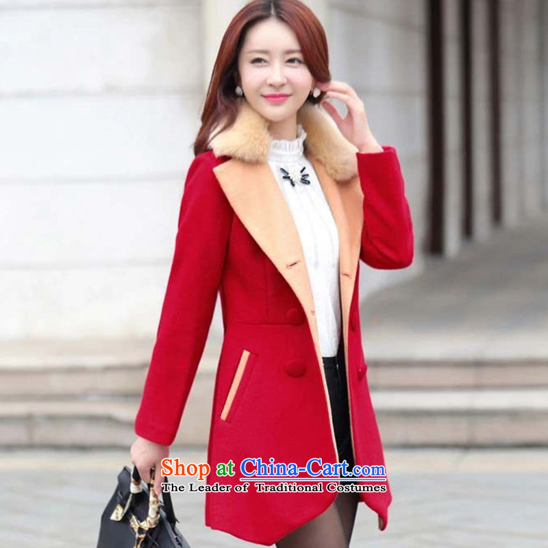 Morcar Connie snow� 2015 autumn and winter new double-spell colors in the jacket long?   for long-sleeved gross is suit coats female RED燤
