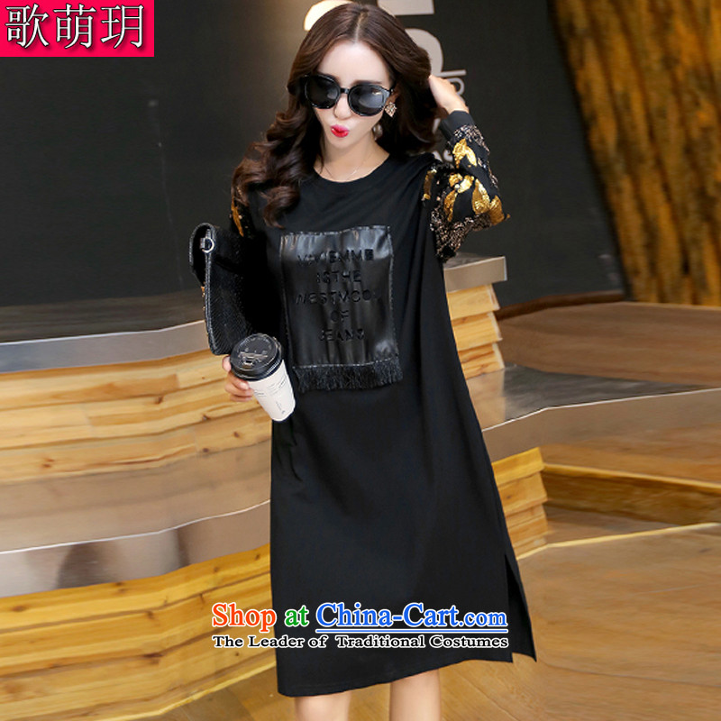 Song Of Yue XL 2015 autumn and winter the new Europe and the large number of ladies thick MM pearl cuff stitching tile dresses Y1373 4XL(160 Black to 180 catties catty)