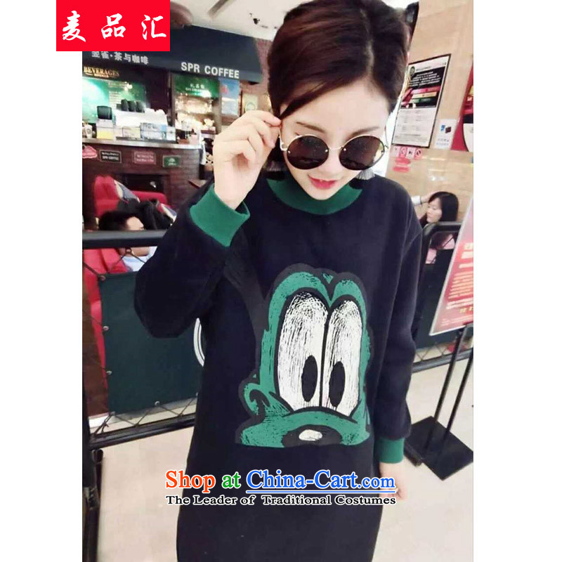 Mr Hui large 2015 No. female thick MM Fall/Winter Collections new thick sister relaxd the lint-free video thin sweater jacket, sweater, forming the basis of 395 Black 3XL