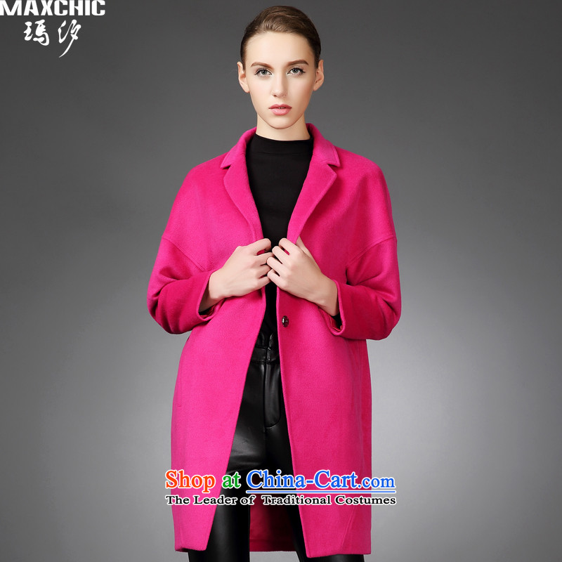 2015 winter Princess Hsichih maxchic simple western botanists balangjie-small lapel fashion, long wool coat jacket 21402? The Red?S