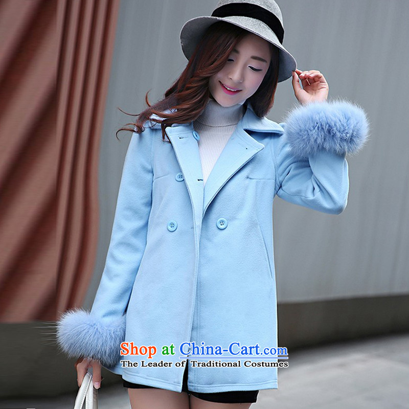 8Pak 2015 autumn and winter new liberal fashion sense of gross coats light blue S?
