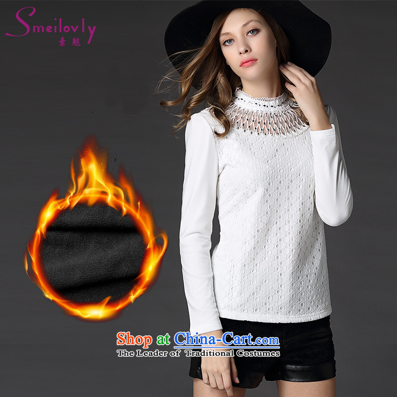 The Director of the WOMEN'S XL 2015 winter clothing new thick MM staple manually pearl western engraving gauze stitching graphics plus lint-free T-shirt thin forming the Netherlands�26爈arge white 5XL code around 922.747 200