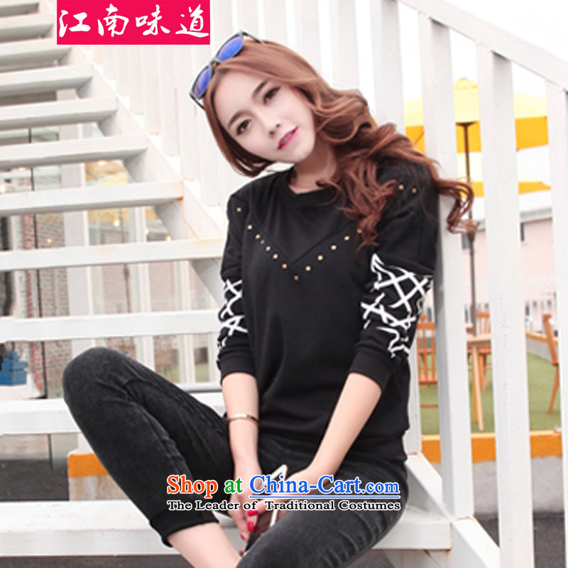 Gangnam-gu�15 autumn and winter taste new larger women to increase the burden of the Netherlands MM200 forming the thick cotton lint-free nail pearl plus extra thick female T-shirt sweater black�L recommendations 140-160 characters catty