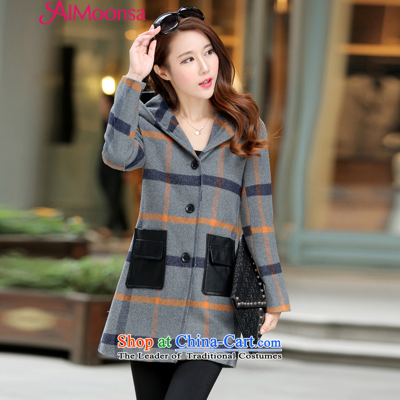 2015 Fall_Winter Collections aimoonsa new_ long hair? jacket Female Cap Korean tartan coats of Sau San Women's gross? coats gray cells?L