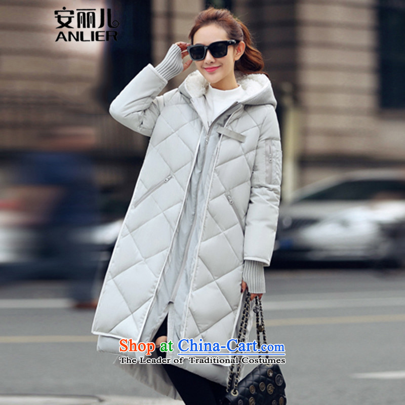 The DORIS 2015 winter new Korean thick long cotton coat large cap gross deerskin lint-free stitching Sau San overcoat 808 gray聽M