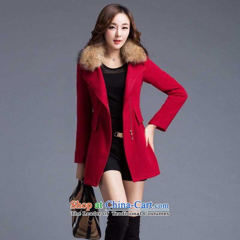 8P 2015 autumn and winter new gross? _red velvet jacket_ M