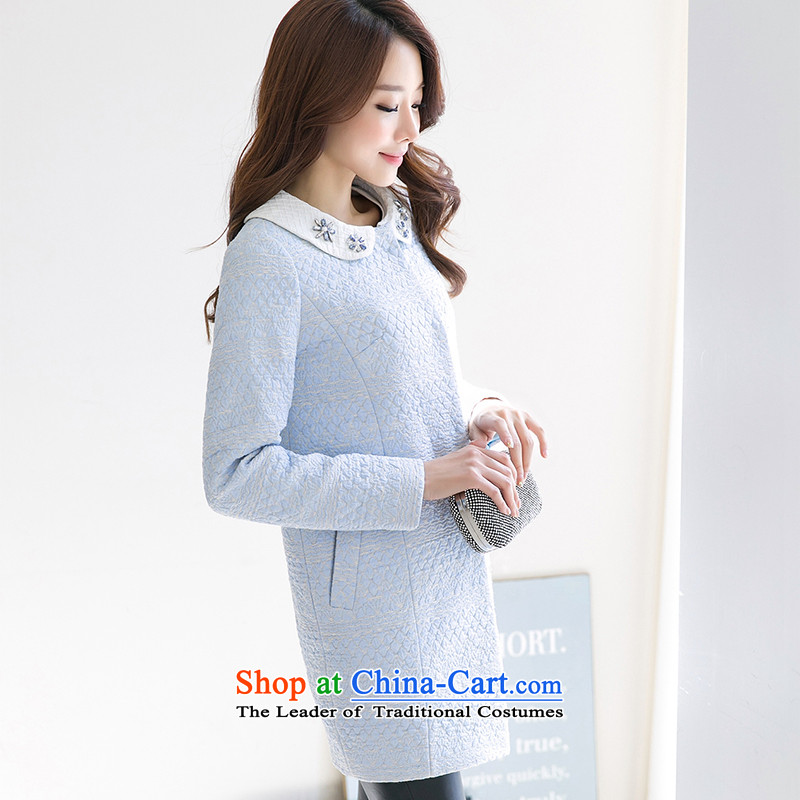 One meter Sunshine2015 winter clothing new small wind women's gross incense? Long girls jacket Korean minimalist Sau San a wool coat female Blue1 M S, sunshine shopping on the Internet has been pressed.