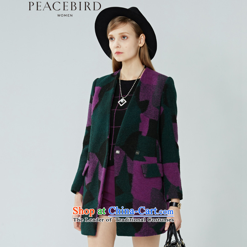 Women Peacebird 2015 winter clothing new products _CIS-coats A1AA44339 calluses as purple ornate S