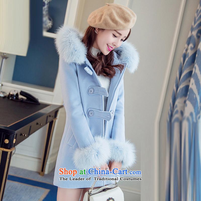 Sin hasnew winter 2015 stylish temperament in Sau San video thin long warm Korean Nagymaros collar single row clip hair? coats female Blue       M