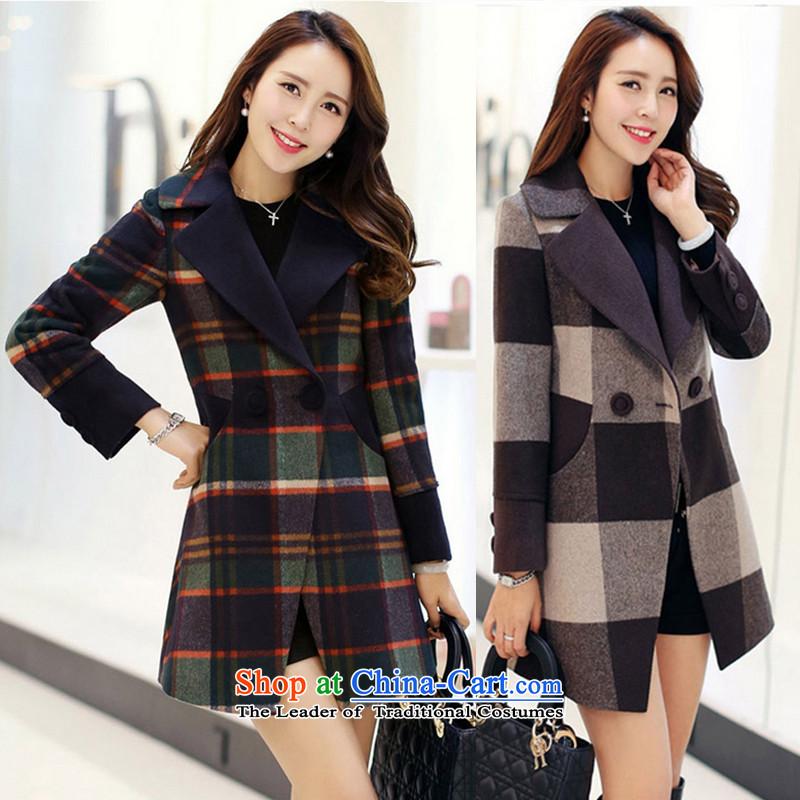 Meijia Garment2015 winter thick Korean female new grid gross?   we women jacket coat girl in gross long 620 Coffee latticedXL