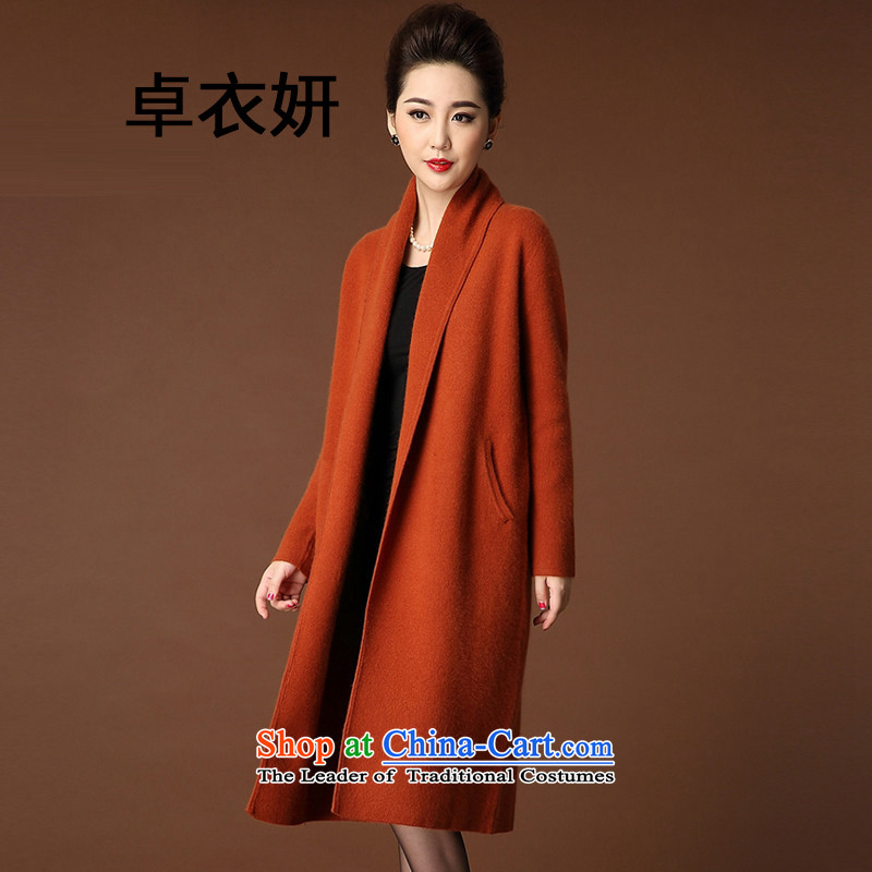 1543#2015 autumn and winter coats girl in new long thick knitting cardigan sweater jacket Tangerine Orange XL