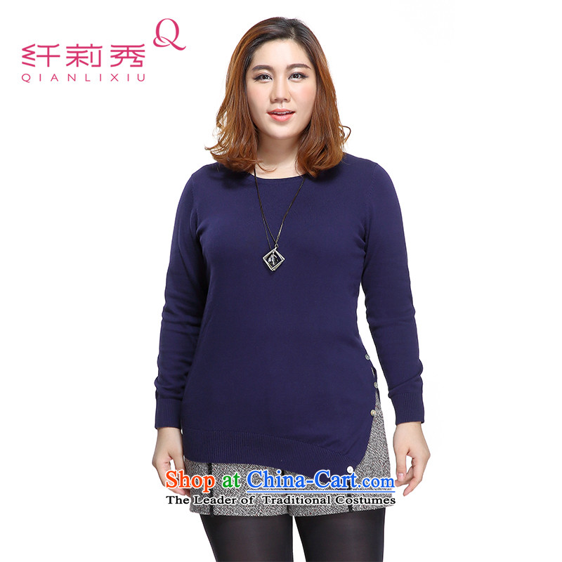 The former Yugoslavia Li Sau 2015 Fall/Winter Collections new larger female round-neck collar coin decoration is not under rule sets and sweaters female 0575-23 possession blue5XL