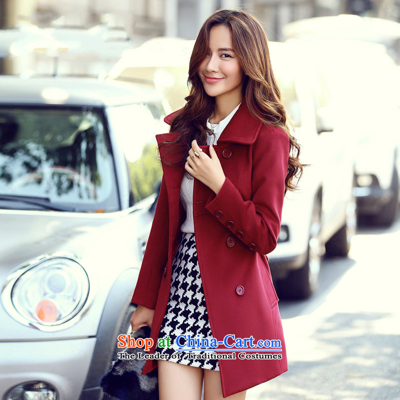 Sin has爊ew winter 2015 stylish look of Sau San video thin warm current in long roll collar Solid Color Wild Hair? female bourdeaux coats�     XL
