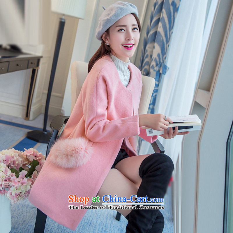 Sin has new winter 2015 stylish temperament in Sau San video thin long round-neck collar Warm Korean Solid Color gross pink female coat?      XL