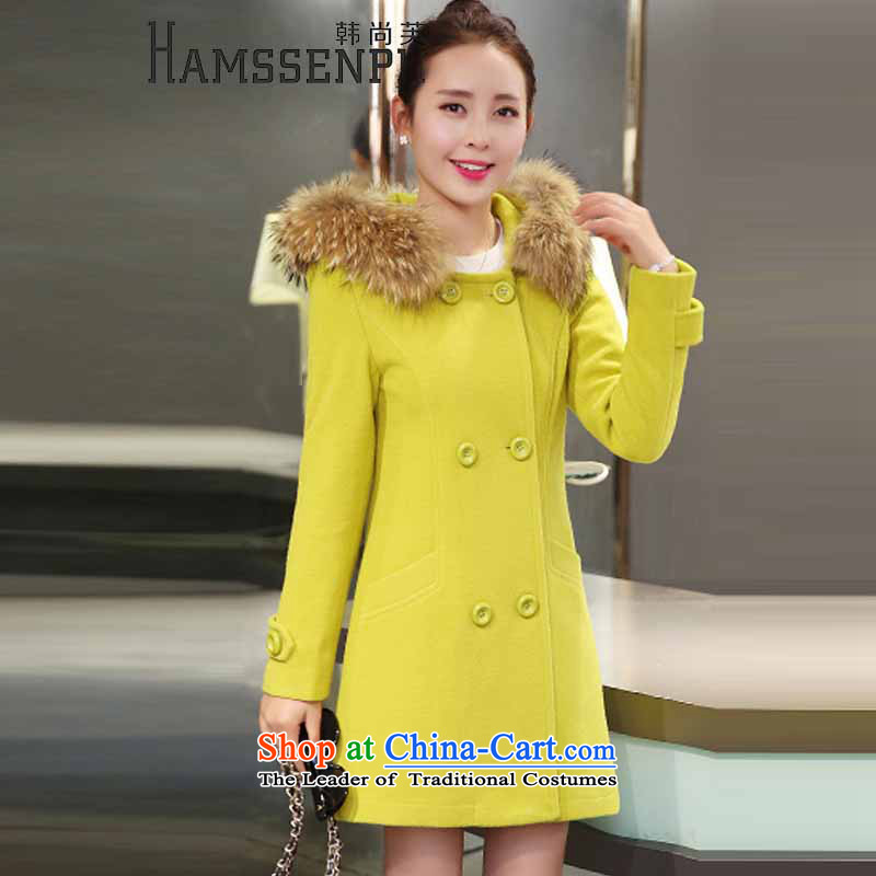 Han Sang-to 2015 winter new Korean version of large numbers of women who are in collar gross long a wool coat female hair?   9920 Fluorescent Green Jacket girl S