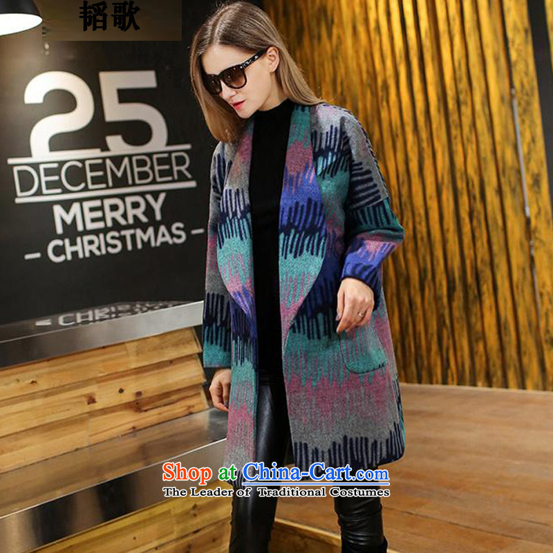 Song Tao Large Western women autumn and winter new expertise in mm colored graphics thin long hair jacket coat燾2162? 5XL 180-200 around 922.747.