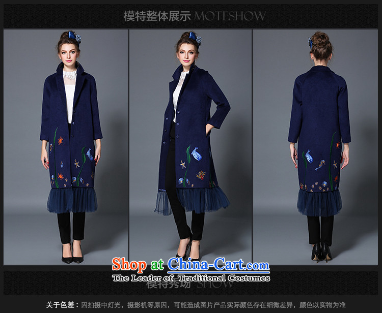 The Ni dream high-end large European and American Women 2015 winter new stylish mm thick gauze stitching woolen coat female long jacket B1719W gross? blue 4XL Photo, prices, brand platters! The elections are supplied in the national character of distribution, so action, buy now enjoy more preferential! As soon as possible.