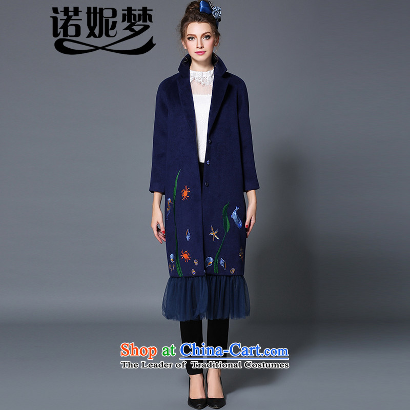 The Ni dream high-end large European and American Women 2015 winter new stylish mm thick gauze stitching woolen coat female long jacket B1719W gross? blue 4XL