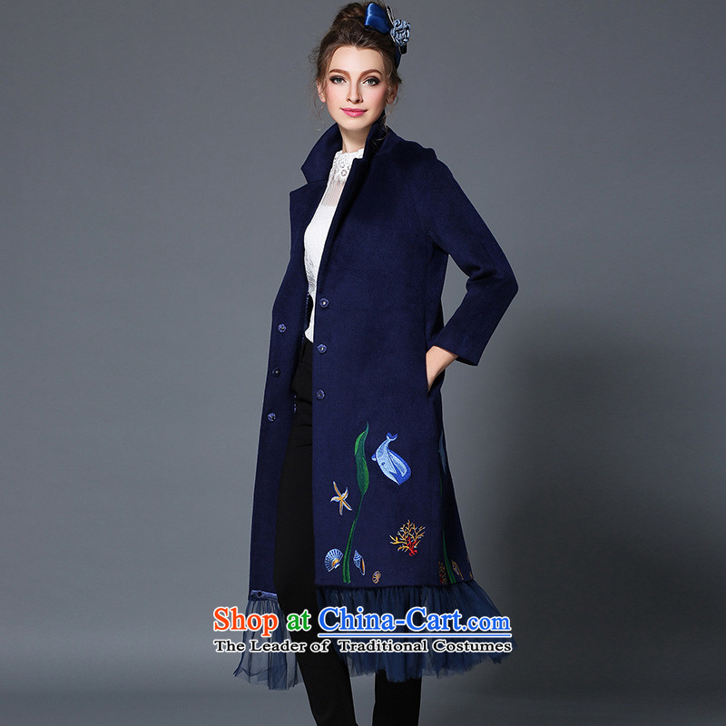 The Ni dream high-end large European and American Women 2015 winter new stylish mm thick gauze stitching woolen coat female long hair B1719W jacket blue 4XL,? The Nivea Dream , , , shopping on the Internet