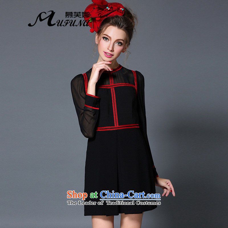 Improving access of the new Europe and the largest 2015 Code women thick mm of autumn and winter in Sau San video thin long skirt?B1706L long-sleeved?black?XL