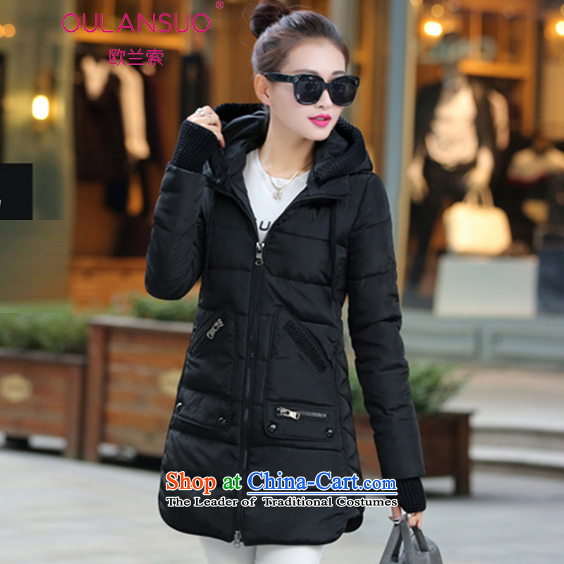 The OSCE, the 2015 autumn and winter new Korean down in long to increase women's code thick MM cotton coat hoodie 1623# 6XL black