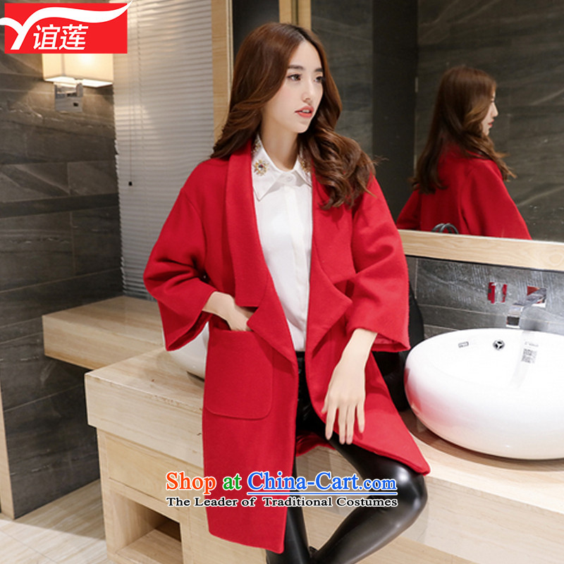 Yi Wu  2015 autumn and winter Korean New larger Cashmere wool coat in the medium to long term,? 7 cuff suits for a wool coat Y8802 female red S