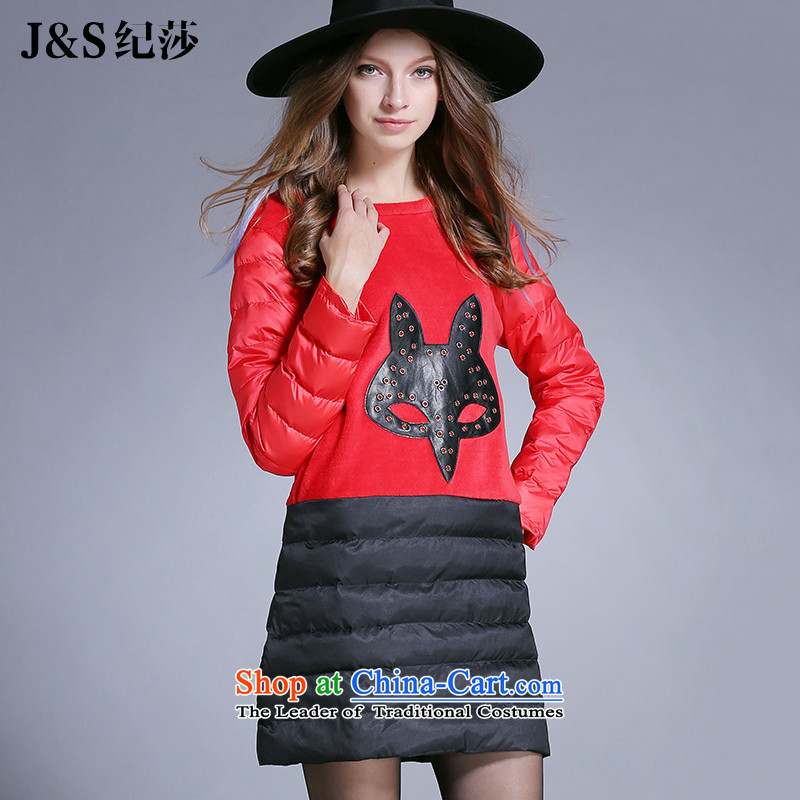 The new 2015 Elizabeth discipline Western brands larger women Fall/Winter Collections forming the dresses long-sleeved light slice feather cotton dress PQ6129Q- 3XL red