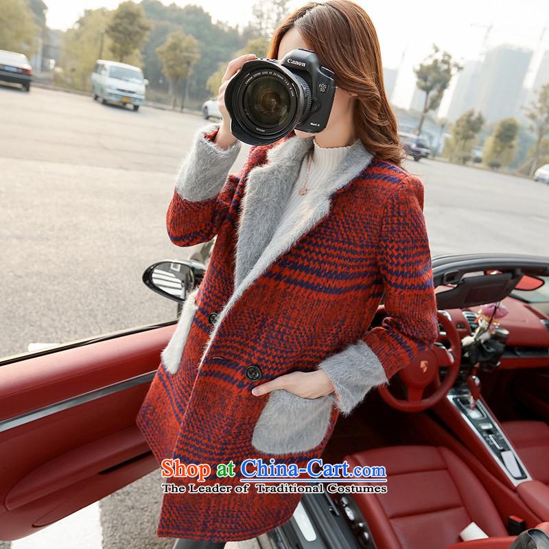 8baiqiu winter plaid video thin hair? jacket coat wine redM